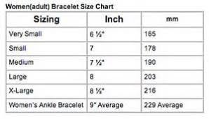 Ankle Bracelet Size Chart Adult Womens Bracelet Size Chart Bracelet Size Chart