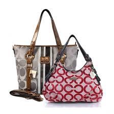 Coach Fashion Signature Medium Red Shoulder Bags ERD+Grey Totes BET