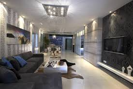light living room furniture. Long Sleek Living Room With Light Floor, Dark Grey Sofa, Black Wall And White Furniture