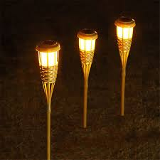 outdoor torch lighting. BEIAIDI 10PCS Solar Spike Spotlight Lamps Handmade Bamboo Tiki Torches Light Outdoor Garden Landscape Lawn With Stake -in From Lights Torch Lighting R