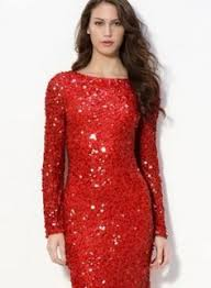 Com  Buy Sexy Low Scalloped Back Red Slim Beaded Long Sleeve Christmas Party Dresses Long Sleeve