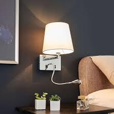 Wandleuchte Leonella Stoff Weiß Led Leselampe Lampenwelt Schalter