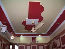 Decorations:Splendid Biege And Red False Ceiling Design Using White Ceiling  Fan Also Modern Wall