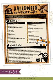 Web Design Scavenger Hunt Halloween Scavenger Hunt For Teens Adults H105