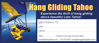 hang gliding tahoe gift certificate