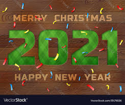 New year 2021 as hole in wood background Vector Image