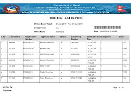 WRITTEN TEST REPORT