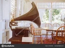 old gramophone decorating vine house vine color tone effect stock photo
