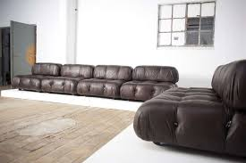 Italian 6 Bellini 'Camaleonda' modular sofa elements,brown leather,1st ed '