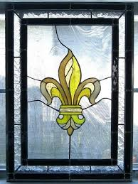stained glass panel by on fleur de lis for