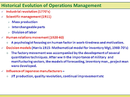 production and operation management ppt video online historical evolution of operations management
