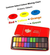 Water Colour Block Tin With 24 Colours Paintbrush Colour Mixing Chart