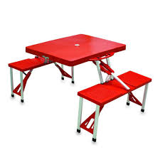 picnic time portable folding red plastic outdoor patio picnic table with seats