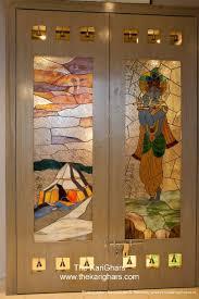 glass painting pooja room door design