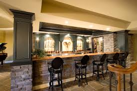 decoration: Yellow Interior Design Of Home Basement Bar Ideas With Stoned  Mini Bar Themed Feat
