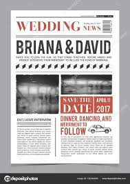 Newspaper Front Template Wedding Invitation On Newspaper Front Page Design Vector