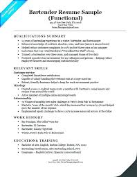Sample Bartender Resume Cool Resume For Bartending Sample Resume Bartender Resume Examples