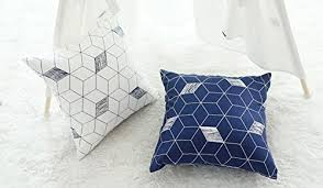 scandinavian design pillows blue and white