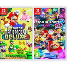 Amazon.com: New Super Mario Bros. U Deluxe + Mario Kart 8 Deluxe - Two Game  Bundle - Nintendo Switch: Video Games