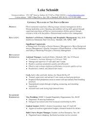 Hospitality Resume Objective Examples General Career Management