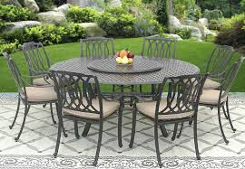 patio table lazy susan cast aluminum outdoor patio set 8 dining chairs inch round table lazy patio table
