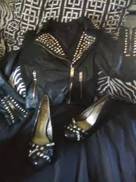 studded leather jacket studded heels