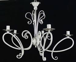 shabby chic chandelier forged white ancient silver leaf italy art b42
