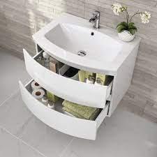 700mm Amelie High Gloss White Curved Vanity Unit Wall Hung Soak Com Vanity Units Bathroom Design Small Bathroom Furniture