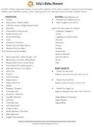 list of items needed for baby kiara grace stampek baby shower list