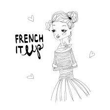 ファッション イラスト 青 Longsleeved シャツを着てかわいいフランス人