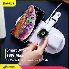 Bộ đế sạc không dây Baseus Smart 3 in 1 cho iPhone , Apple Watch , Airpods  chuẩn Qi công suất tổng 18W - Đế sạc không dây