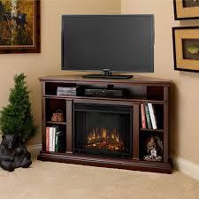corner media console electric fireplace in dark espresso