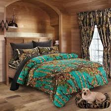 huis 12 piece teal woods camo comforter