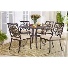 ainsworth 5 piece aluminum round outdoor dining set with oatmeal cushions