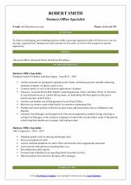Business Office Specialist Resume Samples Qwikresume