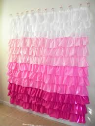 Pink And Grey Ruffle Shower Curtain
