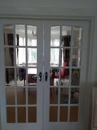 internal solid wood white clear bevel edge glass doors door sizes 78x30 inch each door ex cond