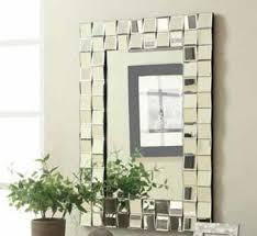 901815 checd zigzag outer edge framed rectangular design frameless decorative wall mirror