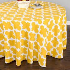 trellis round cotton tablecloth mustard yellow white