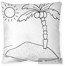 Desert Island Cartoon Coloring Page Pillow Cover Pixers We Live