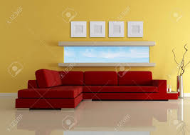 Modern Living With Narrow Horizontal Window Rendering The Image