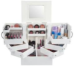 avoid the cosmetics crush with this deluxe wood makeup box with built in mirror qvc