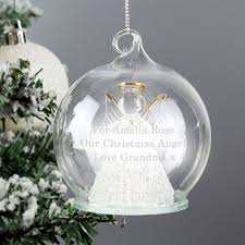 Personalised Light Up Christmas Baubles Personalised Led Light Up Glass Angel Christmas Bauble