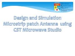 Cst Microwave Studio Tutorial Antenna Design Pdf Design And Simulation Microstrip Patch Antenna Using Cst