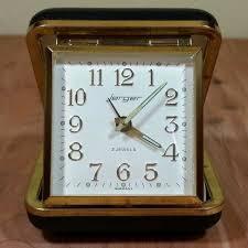 details about vintage jerger 2 jewels alarm clock black cover glows wind up