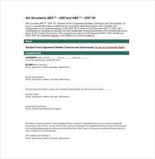 Sample Subcontractor Agreement Stunning Subcontractor Agreement Template Pdf Lovely Aia Subcontractor