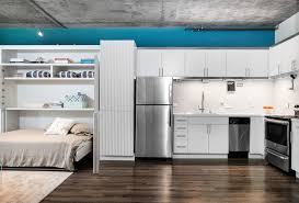 los angeles apartment accessories with linen valances kitchen industrial and teal blue accent wall loft