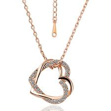details about 1 2ct round cut diamond pendant with chain double heart shape 14k rose gold over