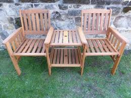 uk gardens heavy duty wooden garden love seat bench with parasol hole and table