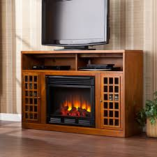 large picture of southern enterprises narita media electric fireplace glazed pine fe9302